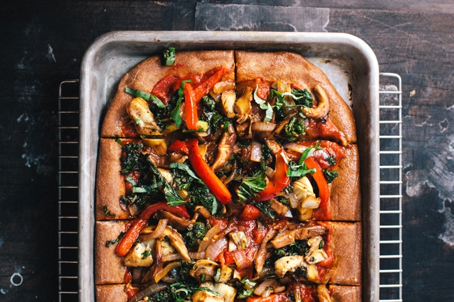 Roasted Veggie Cheeseless Pizza   Brewing Happiness