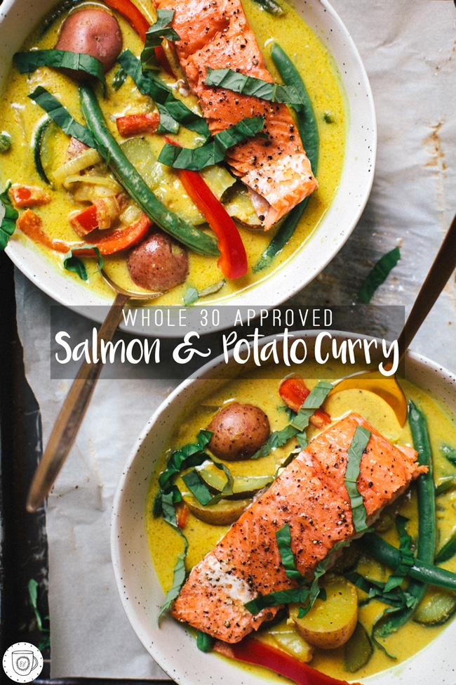 Whole 30 Approved Salmon and Potato Curry | Brewing Happiness