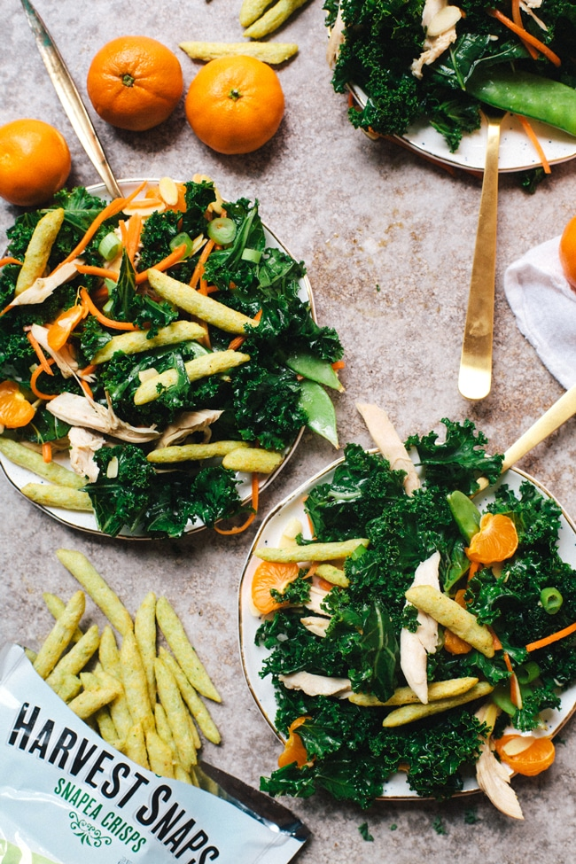 Healthy Chinese Chicken Kale Salad | Brewing Happiness
