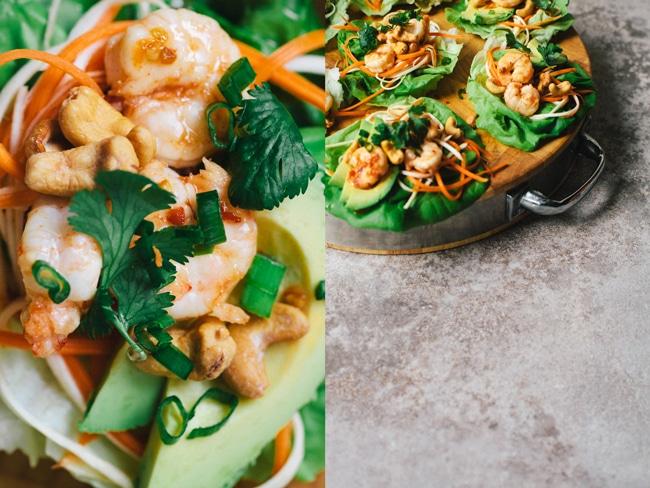 Sweet Thai Chili Shrimp Lettuce Wraps   Brewing Happiness