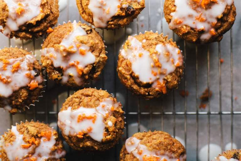 Healthyish Carrot Cake Cupcakes with Greek Yogurt Glaze