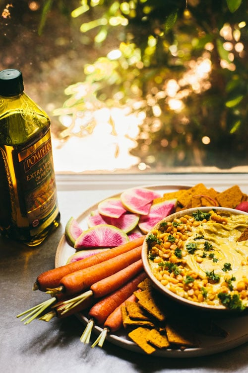 Yellow Split Pea Hummus made with @pompeian olive oil!   Brewing Happiness
