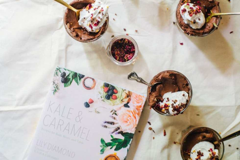 Chocolate Chia Mousse with Cardamom Rose Coco Whip (vegan) + Kale & Caramel Cookbook   Brewing Happiness