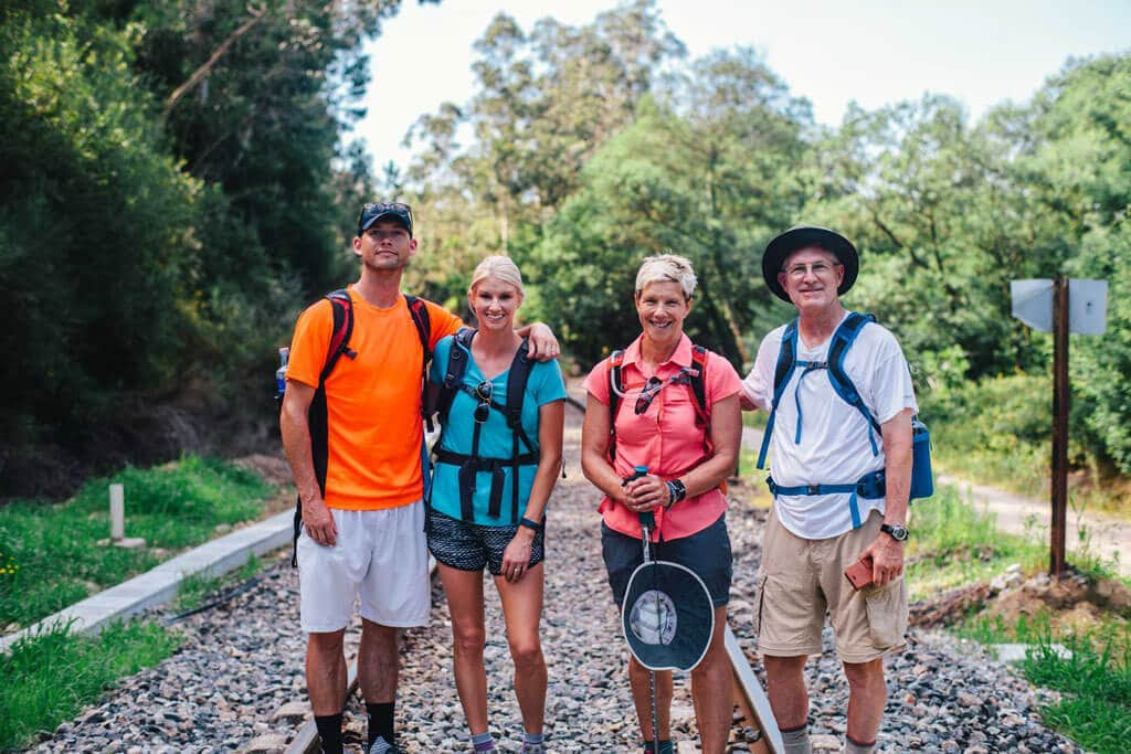 My family posing on a rail road track, along the Camino De Santiago in Spain.