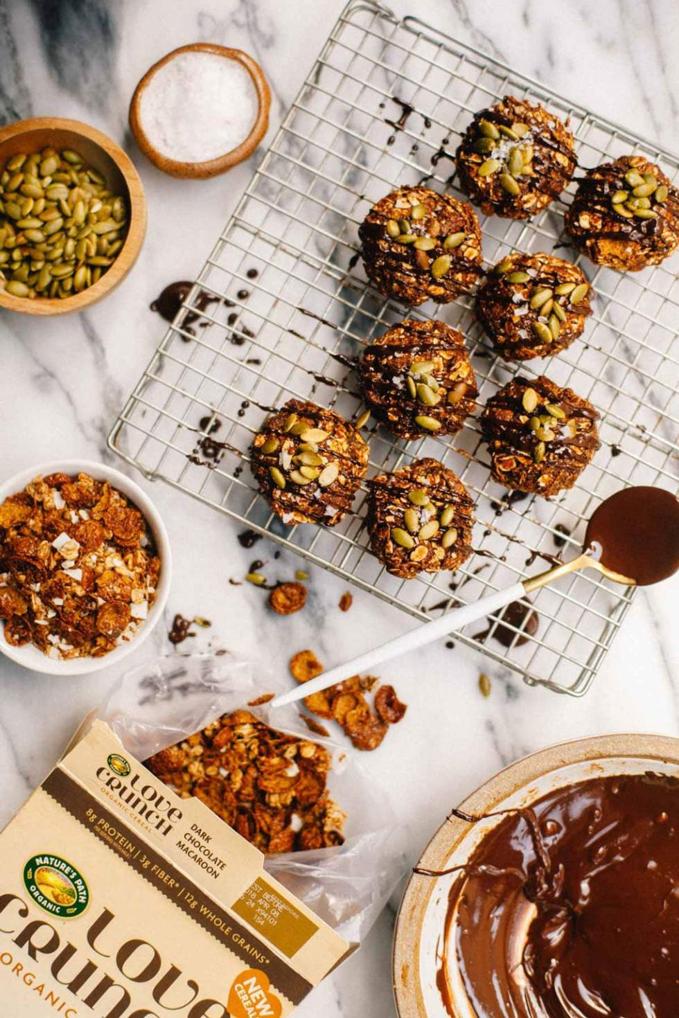 No Bake Chocolate Cookies made with Nature's Path Cereal.
