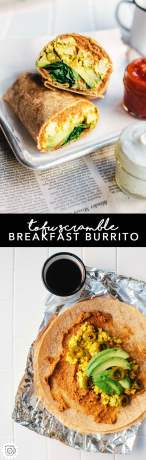 This tofu scramble breakfast burrito is packed with vegetarian refried beans, an amazing Mexican tofu scramble, avocado, spinach, and pickled jalapenos! It's totally vegan and WAY more delicious than your average breakfast burrito. #vegan #healthy #recipe #brewinghappiness #breakfast #burrito