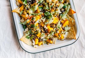 Loaded Vegetarian Pumpkin Nachos | Brewing Happiness