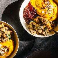 Vegan Apple Thyme Stuffing with Kabocha Mash | Brewing Happiness