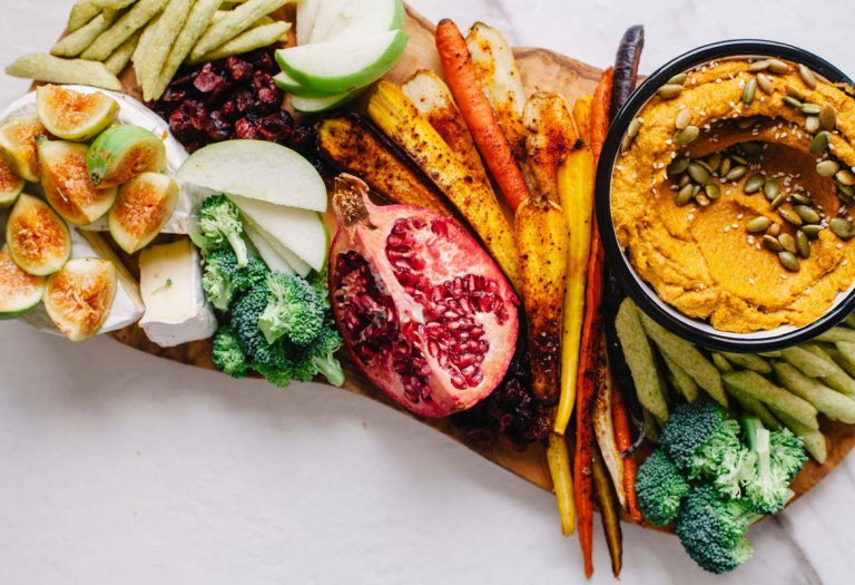 Toasted Sesame and Pumpkin Dip with an Easy Holiday Crudités Platter