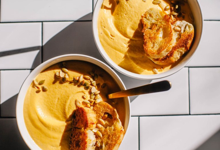Creamy Cashew Cardamom Butternut Squash Soup | Brewing Happiness