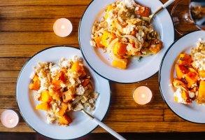 Ricotta Butternut Squash & Sweet Potato Thanksgiving Casserole | Brewing Happiness