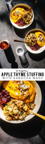 This vegan apple thyme sausage stuffing with kabocha squash mash is the perfect healthy Thanksgiving alternative to serve this year! #vegan #Thanksgiving #healthy   Brewing Happiness