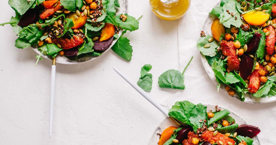Winter Beet and Grapefruit Baby Kale Salad | Brewing Happiness