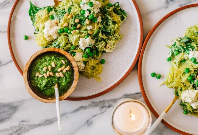 Spinach and Ricotta Pesto Spaghetti Squash