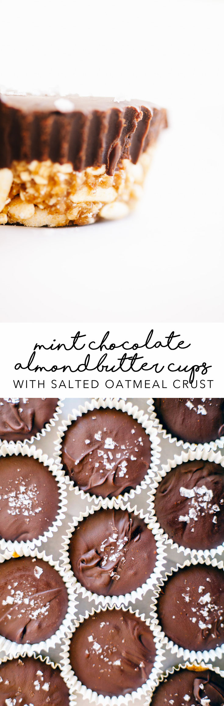 These Mint Chocolate Almond Butter Cups with Salty Oatmeal Crusts are vegan, gluten-free, and the best holiday treat for your friends and family! #vegan #dessert #holiday | Brewing Happiness