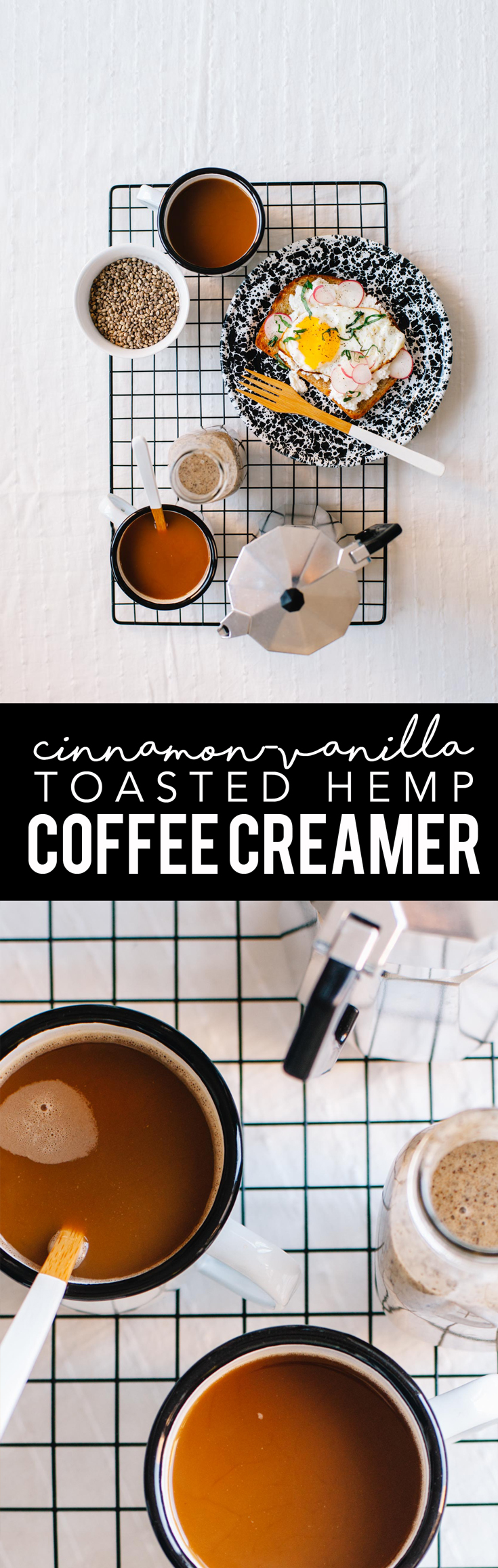 This Cinnamon Vanilla Toasted Hemp Coffee Creamer is totally non dairy, thick like creamer, and bold in flavor. It's the perfect healthy way to make a fancy cup of coffee at home! #coffee #creamer #vegan | Brewing Happiness