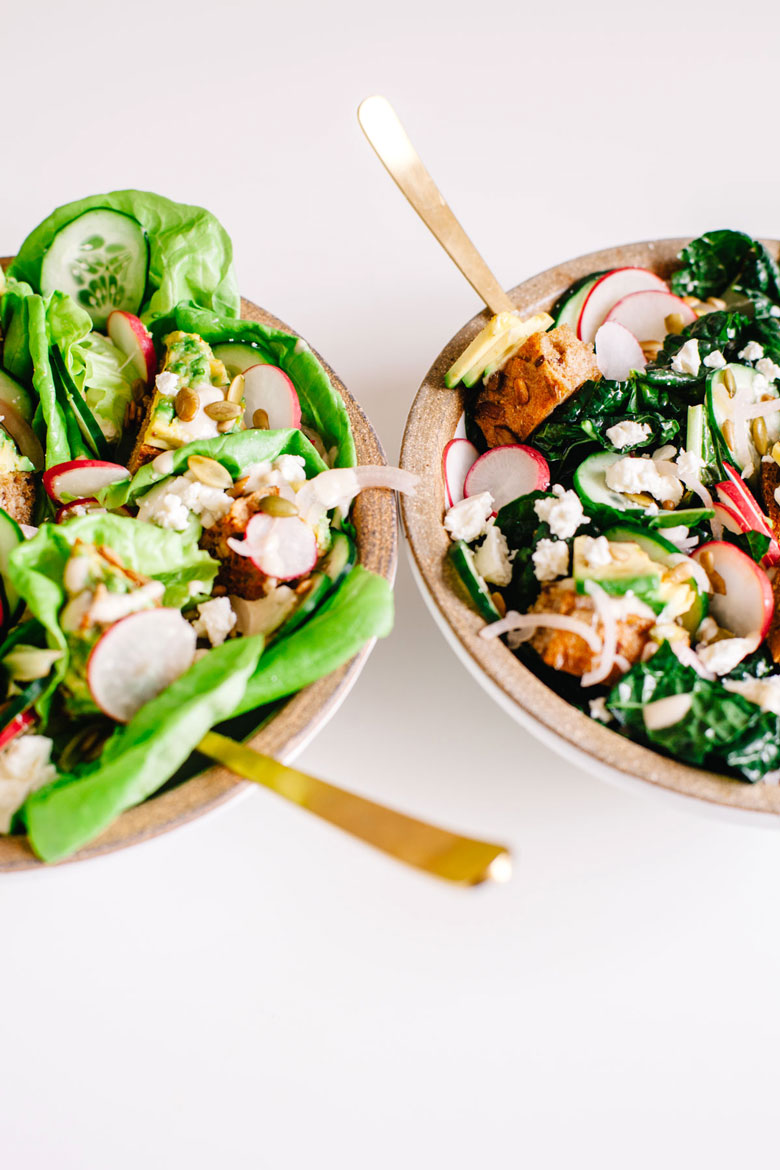 two bowls of avocado toast salad