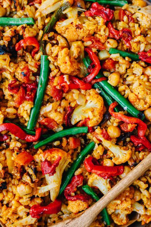 close up of vegan paella