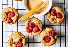 Small Batch Raspberry Rose Muffins with Cinnamon Honey Butter (gluten-free) | Brewing Happiness