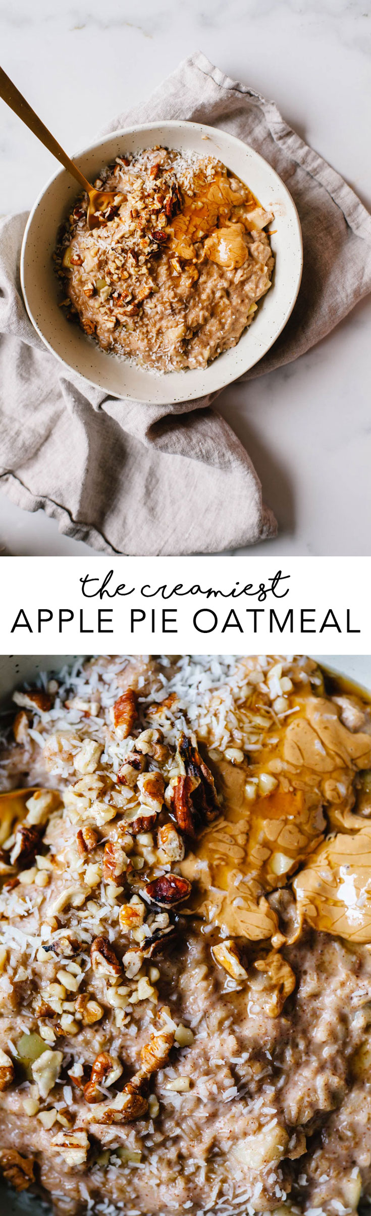 Learn how to make the creamiest apple pie oatmeal with no recipe at all! Cooking intuitively an be easy! #oatmeal #healthy #recipe | Brewing Happiness