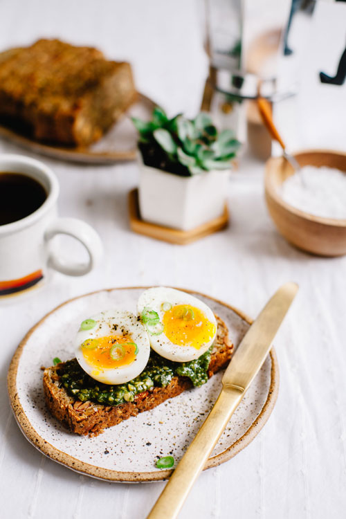 toast with pesto, and a soft boiled egg