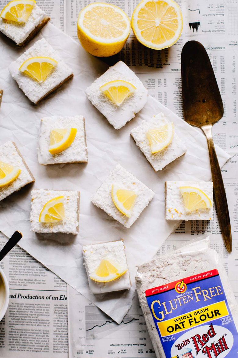 Lemon bars made with Bob's Red Mill Oat Flour