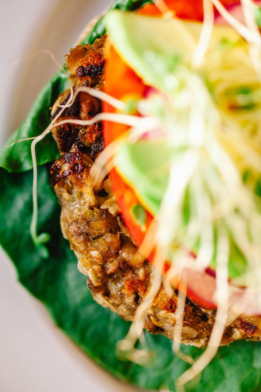 close up of a veggie burger