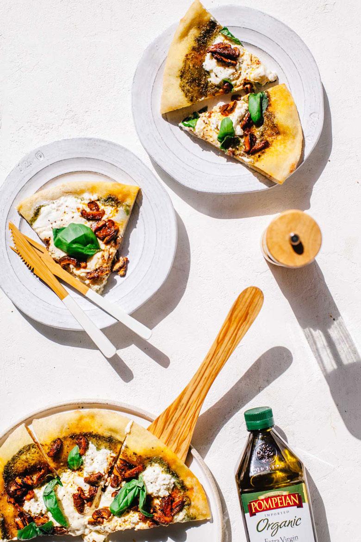 mushroom, cheese, and pesto pizza