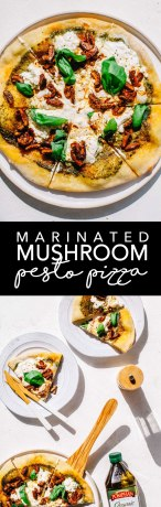 Marinated Mushroom Pesto Pizza with ricotta and burrata | Brewing Happiness
