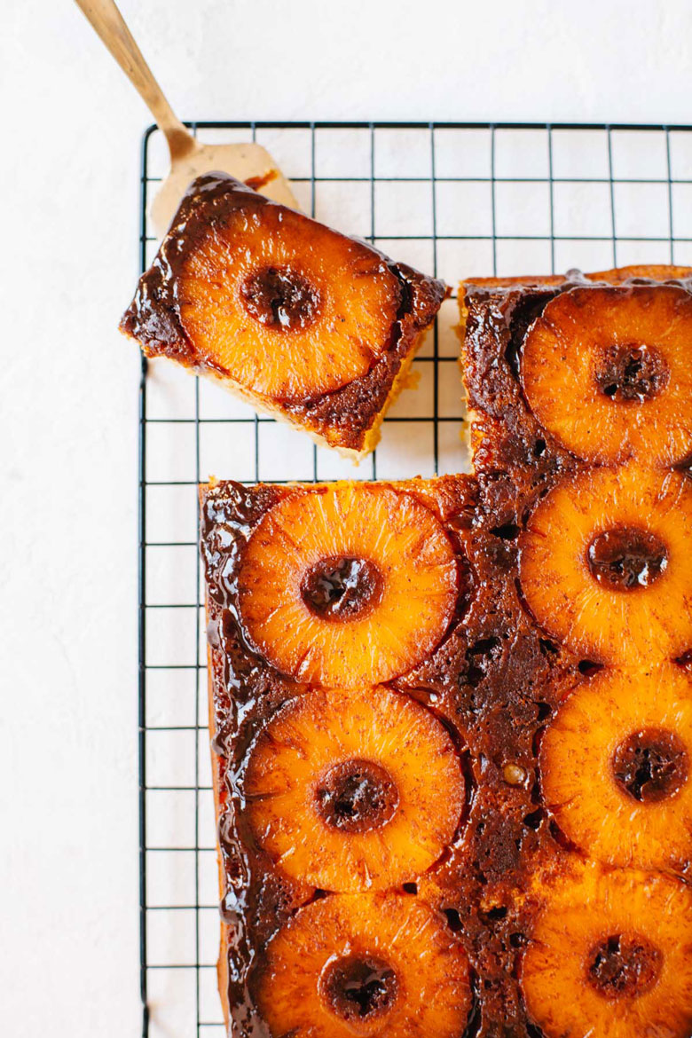 Healthy Pineapple Upside Down Cake with honey, greek yogurt, and olive oil | Brewing Happiness