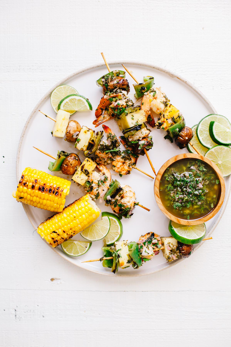 Grilled Shrimp Chimichurri Skewers | Brewing Happiness