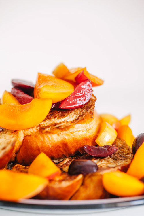 close up on french toast and fruit