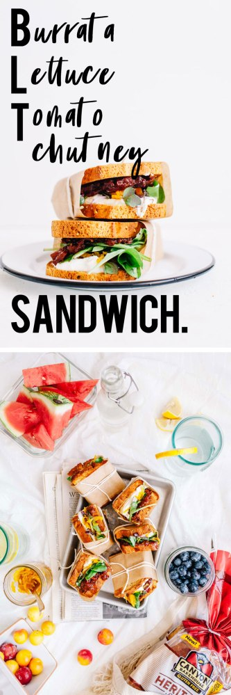 BLT Burrata Lettuce Tomato Chutney Sandwich with Turmeric Pickled Shallots is the vegetarian sandwich you've been waiting for! | Brewing Happiness