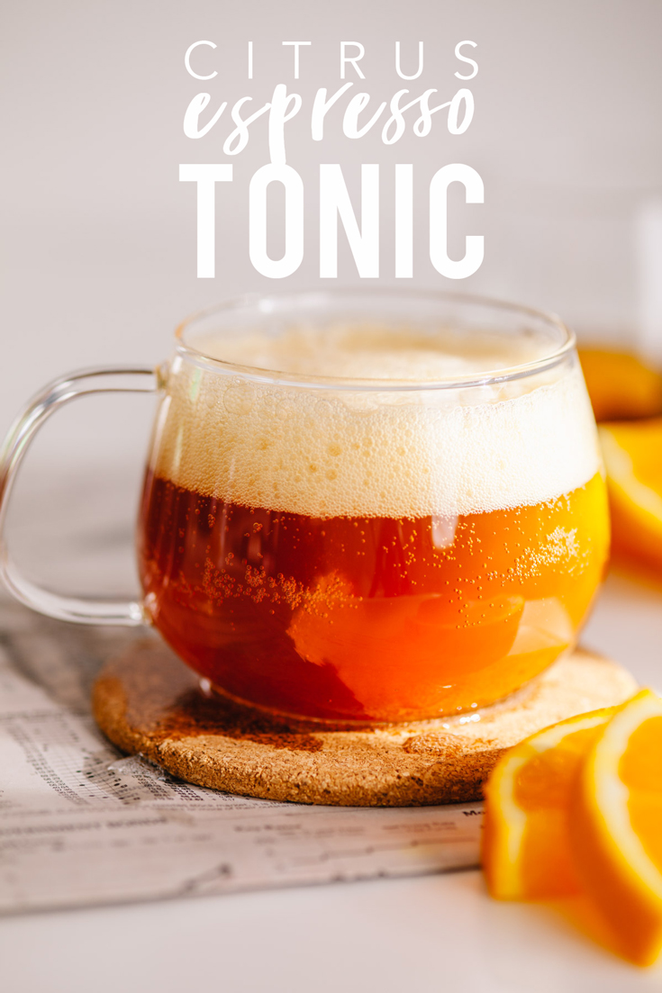 This citrus espresso tonic is the perfect refreshing and sweet drink to perk up your day! Plus it's just 4 ingredients and takes minutes to assemble.