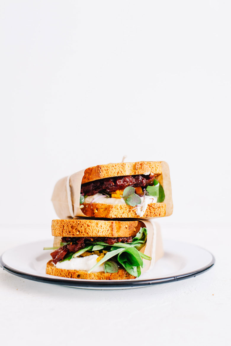 Burrata, Lettuce, and Tomato Chutney Sandwich | Brewing Happiness