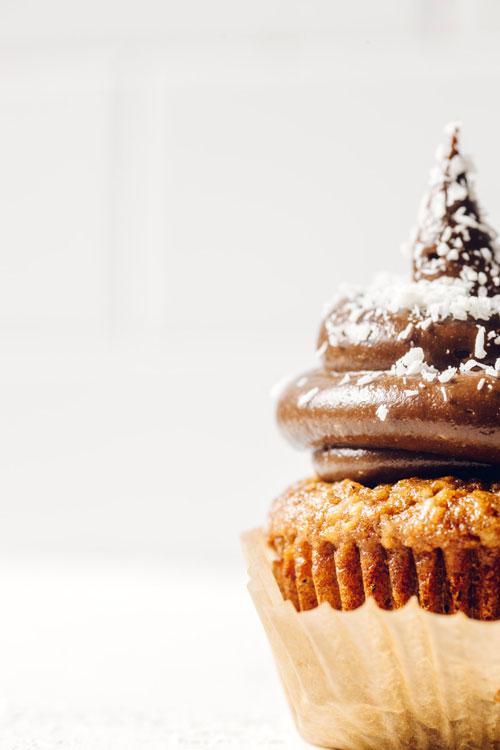 close up on half a cupcake