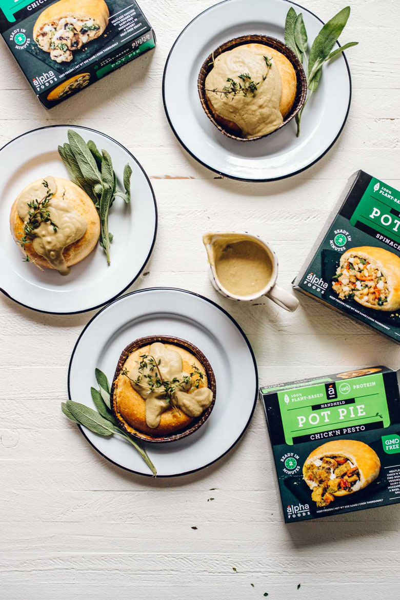Alpha Foods Vegan Pot Pies with Blender Chickpea Gravy