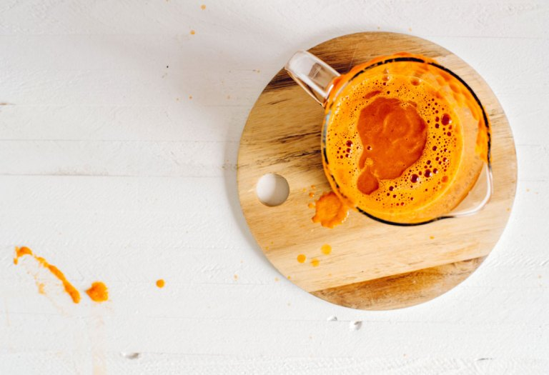 Fall Harvest Pumpkin-Carrot Blender Juice | #virtualpumpkinparty