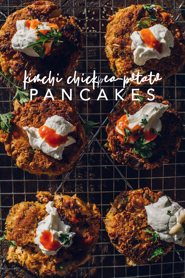 These Kimchi Chickpea Potato Pancakes are like a combination of Korean pancakes, socca, and latkes all in one delicious bite! PS. They're gluten free! #koreanpancakes #kimchi #glutenfree #potatopancakes #recipe | Brewing Happiness