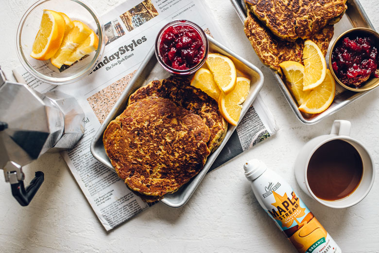use your thanksgiving leftovers to make pumpkin cranberry pancakes!