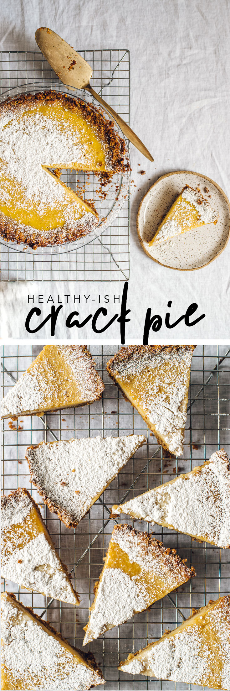 This Healthyish Crack Pie is a naturally sweetened version of the Milk Bar classic, with a oat-corn flour crust and a non-dairy buttermilk custard filling! #crackpie #pie #holiday #recipes #cornflour #healthyish | Brewing Happiness