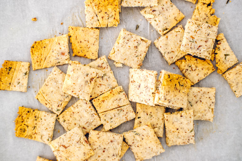 almond-rosemary keto crackers