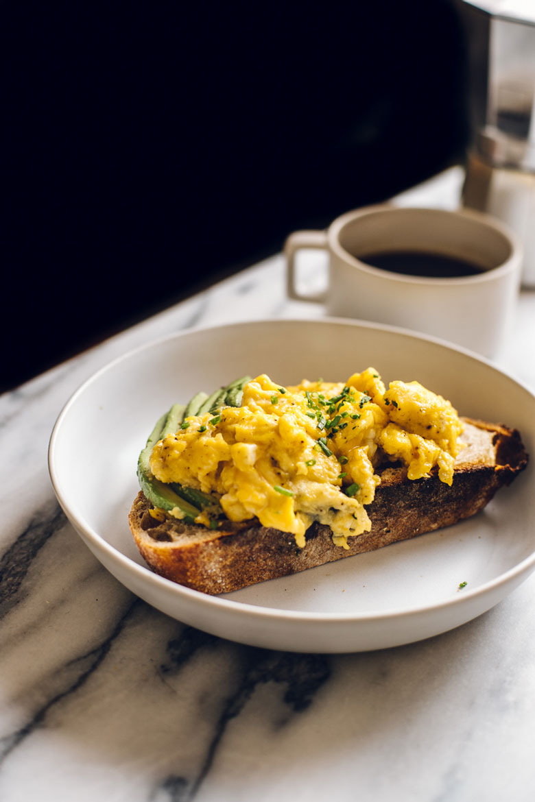 soft scrambled eggs on toast