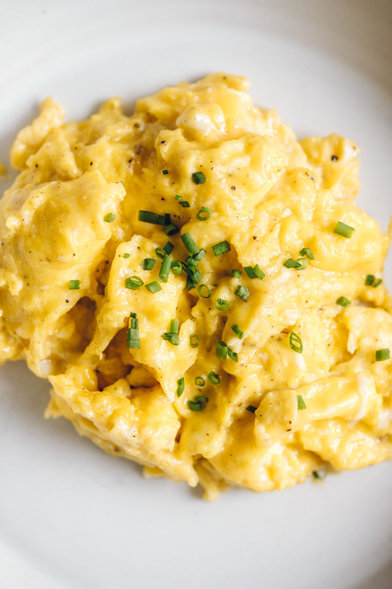 close up on scrambled eggs