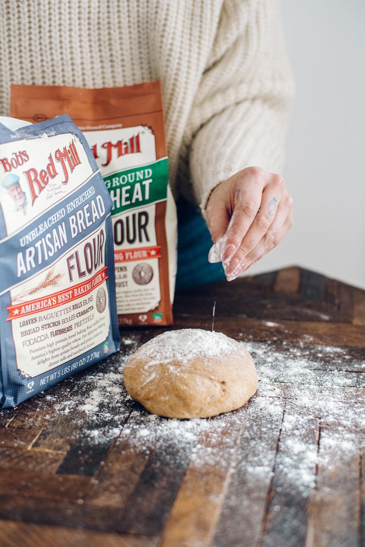 whole wheat pizza dough using Bob's Red Mill Organic Whole Wheat flour and Bread Flour