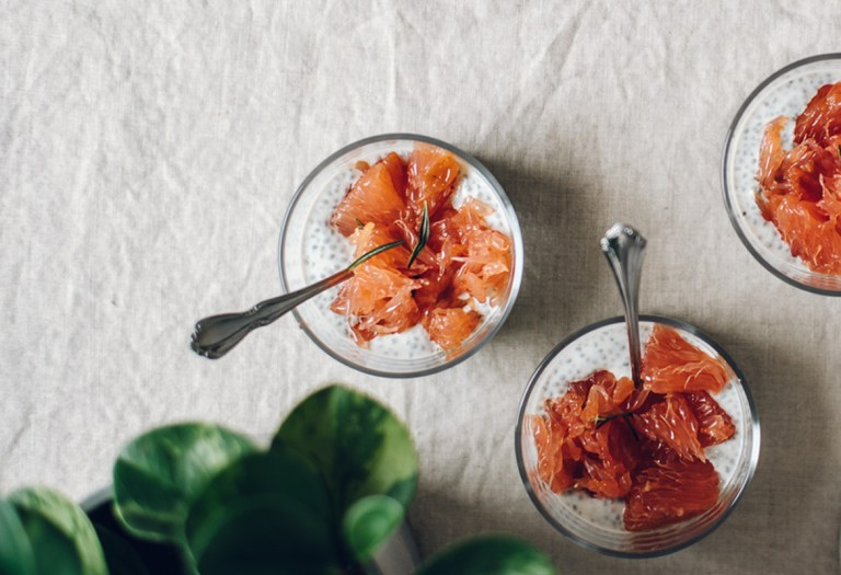 Greek Yogurt Chia Pudding with Roasted Grapefruit | Brewing Happiness