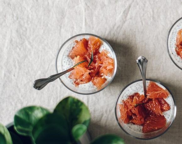 Greek Yogurt Chia Pudding with Roasted Grapefruit   Brewing Happiness