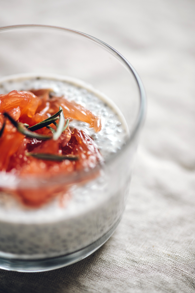 close up of greek yogurt chia pudding with roasted grapefruit on top