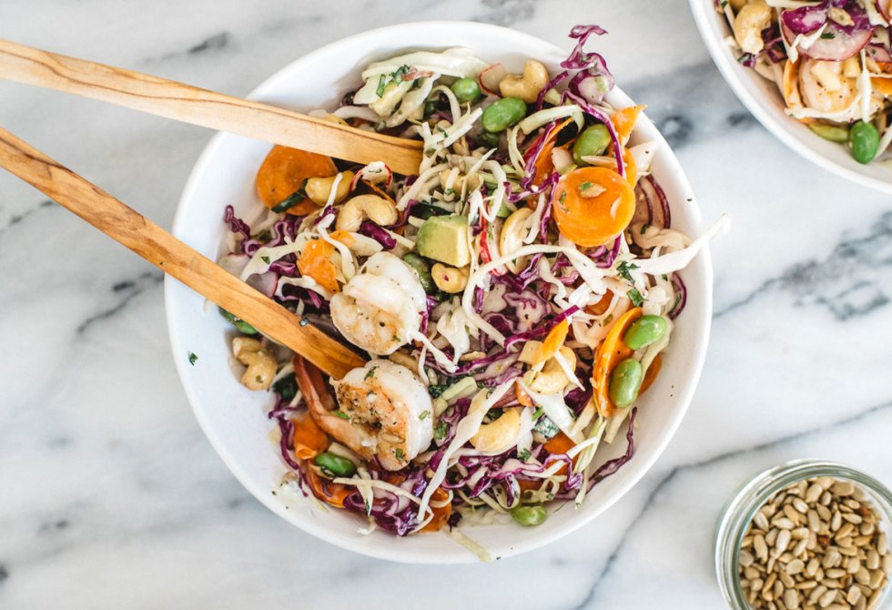 Crunchy Asian Cabbage Salad with Shrimp | Brewing Happiness