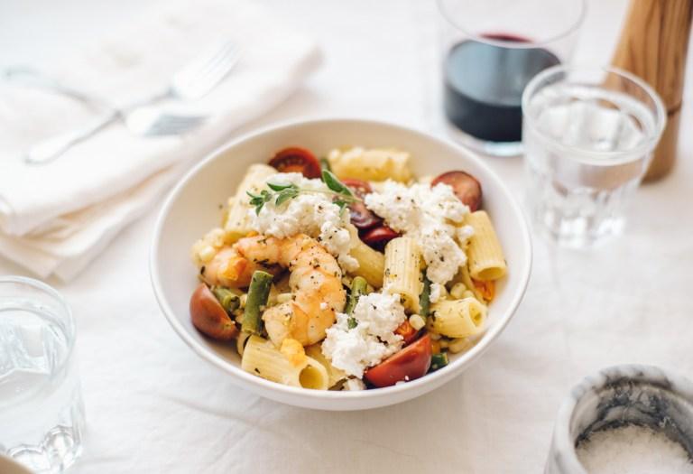 Summer Succotash Shrimp Pasta | Brewing Happiness